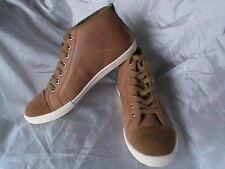 SAKS FIFTH AVENUE NIB Johnny men's 8 casual lace-up shoes cognac tan leather