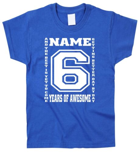 Kids Children/'s 6th Birthday T-Shirt Personalised Name Any Age Can Be Amended