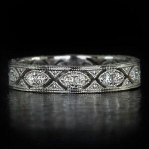 2Ct-Round-Cut-Diamond-Milgrain-Filigree-Vintage-Wedding-Band-14K-White-Gold-Over