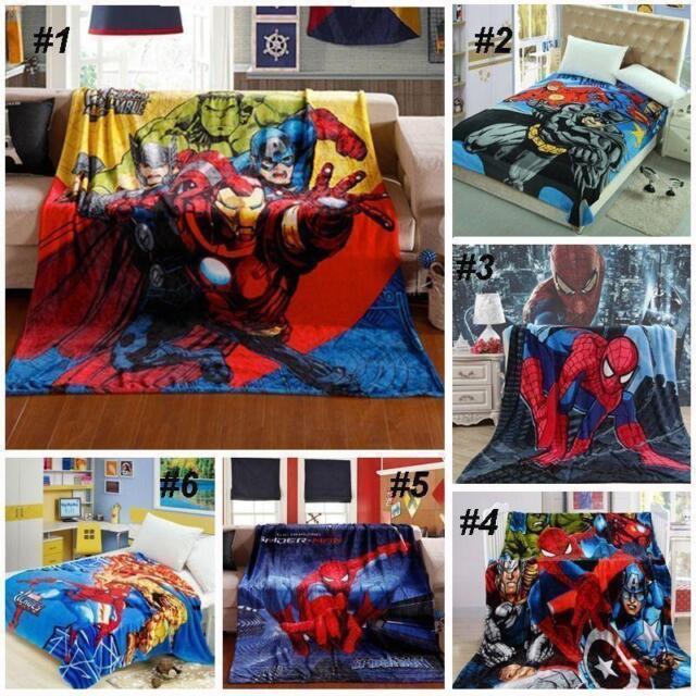 Hot Sale Avengers Marvel Super Hero Soft Bed Fleece Throw Blanket Rug Xmas Gift