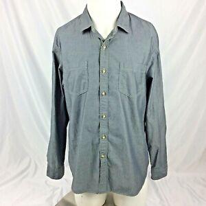 Goodthreads-Mens-Shirt-L-Blue-Denim-Chambray-Button-Down-Oxford-Standard-Fit