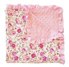 PoshPeanut® Toddler Baby Soft Cozy Minky Ruffled Edge Kids Blanket Throw Floral