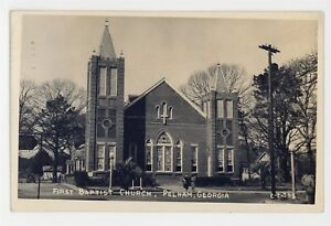 RPPC-First-Baptist-Church-PELHAM-GA-Vintage-Georgia-Real-Photo-Postcard
