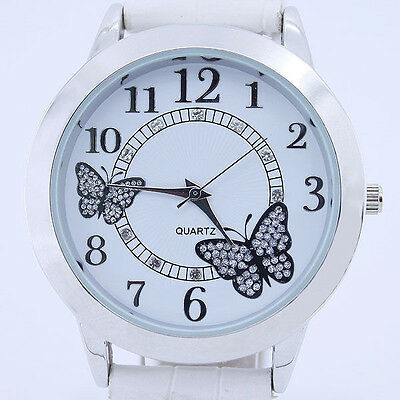 New Fashion Butterfly Leather Bracelet Dial Bling Quartz Lady Woman Wrist Watch