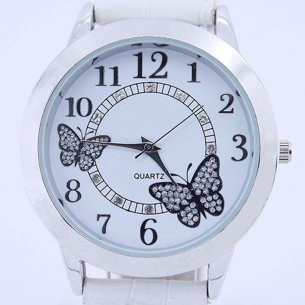 New Fashion Butterfly Leather Bracelet Dial Bling Quartz Lady Woman Wrist Watch
