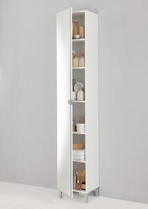 Image Is Loading Tarragona White Floor Bathroom Cabinet Tall Cupboard
