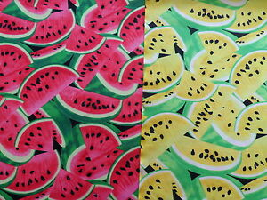 Retro-WATERMELON-100-Cotton-Fabric-Material-by-the-METRE-Yellow-Red
