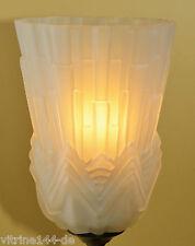 ART DECO LAMPE Stehlampe Tischlampe Simsleuchte satiniertes Glas Höhe 42 cm
