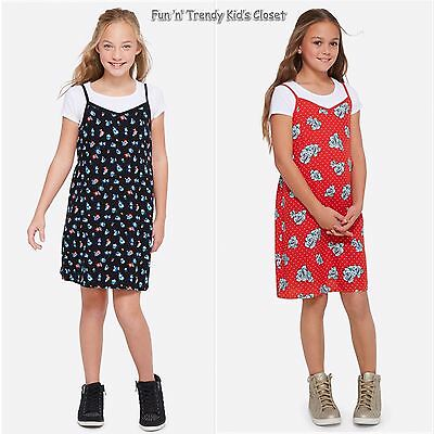 NWT Justice Girls Sz 12 14 Floral Print Tie-Back Cami Slip Dress Over Tee Shirt