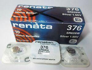 Renata Knopfzelle 376 -ed:12.2019 Sr626w D376 1,55 Volt Batterien HöChste Bequemlichkeit Ag4 Sr66