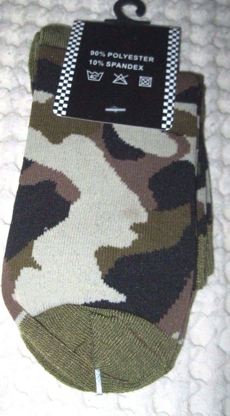 Men's Pair of Low Cut Army Navy Marines Camo Camouflage Socks,Size 10-13-New!