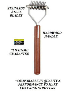 10-Blade-Dog-COAT-STRIPPER-TOOL-Stripping-Hair-Mat-Breaker-Wood-Handle-RAKE-King