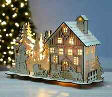 Christmas Wooden House Snowman Reinder Scene Pre-lit LED Lights Xmas Decoration