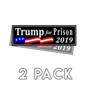 Trump-For-Prison-2019-Black-Bumper-Sticker-2019-Decal-2-Pack-Donald-Trump