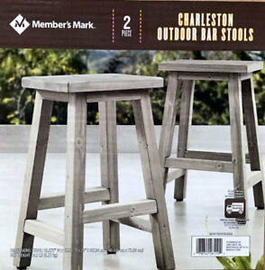 Details About New 2 Pc Member S Mark Charleston Outdoor Wooden Bar Stools Patio Garden Chairs