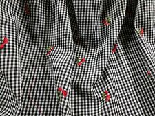 """Embroidered Gingham Blk/Wht Red Cherries 58"""" Wide Poly Cotton Fabric By The Yard"""