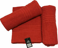 RED LARGE BATH TOWELS 70CM X 130CM EACH   SET OF 2 OR 3