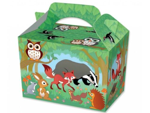 Woodland Park Animals P//W Meal Boxes ~ Birthday Party Food Bag Picnic Plate Box