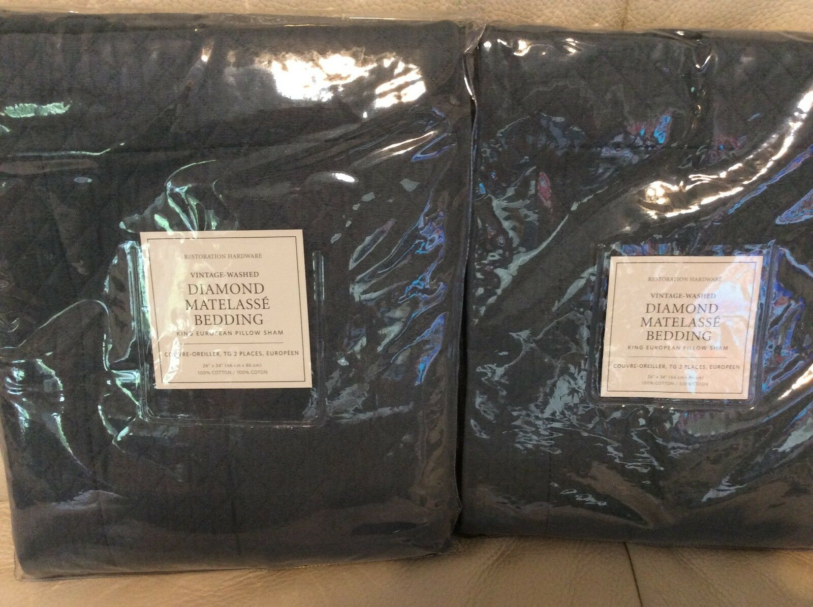 Restoration Hardware 2 Vintage Diamond Matelasse King Euro Shams Nocturne blueee
