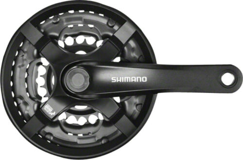 Shimano Tourney TY501 6//7//8-Speed 175mm 24//34//44t Square Crankset w// Chainguard