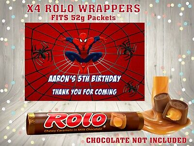 PERSONALISED SPIDERMAN ROLO WRAPPERS CHOCOLATE FITS 52g ROLOS