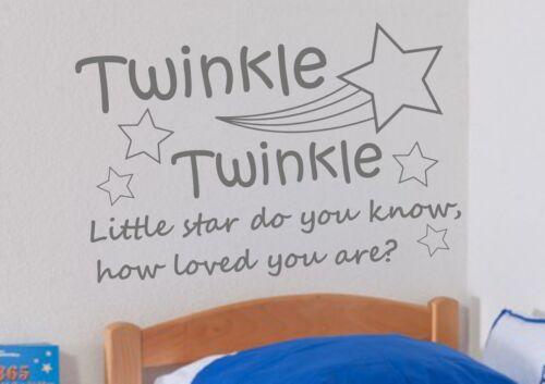 Twinkle Twinkle kids wall art decal sticker citation chambre papier peint Pépinière