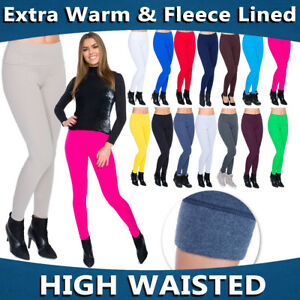 Womens-Winter-High-Waist-amp-Classic-Leggings-Fleece-Lined-Plus-Sizes-8-30-LWPP28