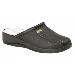 DEK L128 Womens Ladies Leather Nursing Kitchen Mule Clogs Sandals Shoes White C