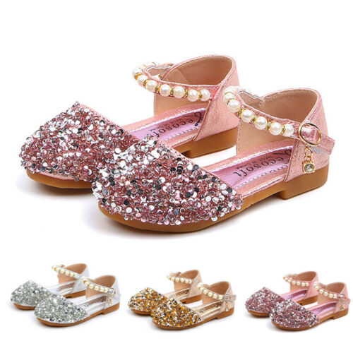 Toddler Infant Kids Baby Girls Perle Bling Paillettes Unique Princesse Chaussures Sandales