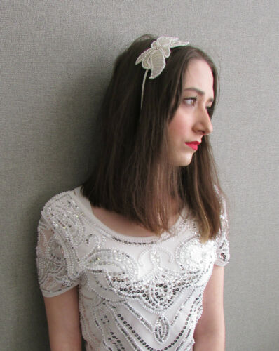 Perle blanche argent strass bandeau serre-tête mariée great gatsby garçonne Y95