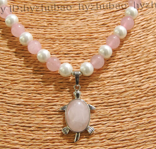 8 Mm Blanc Akoya Shell Perle Pierres Précieuses Perles Rondes Tortue Collier Pendentif AAA