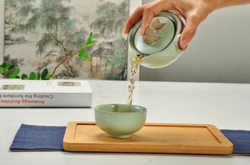 Chinese Ru Kiln  Kung Fu Tea Set Ceramic Travel A Teapot And Teacup
