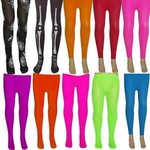 GIRLS-NEON-TIGHTS-FOOTLESS-AGE-3-14-TUTU-PARTY-FANCY-DRESS-KIDS