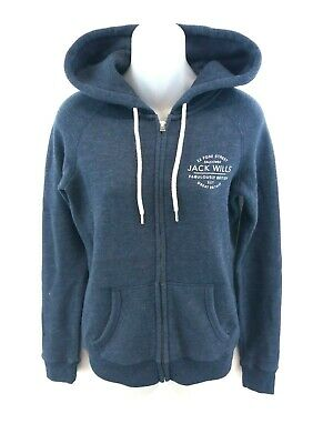 Jack Wills Womens Hoodie Jacket 8 Navy Blue Polyester & Cotton 100% Original