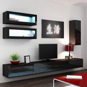 h ngwand mediawand lucas 11 wohnzimmer set schrankwand modern design hochglanz ebay. Black Bedroom Furniture Sets. Home Design Ideas