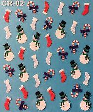 Nail Art 3D Stickers Glitter Decals Christmas Snowman Candycane Winter CR02