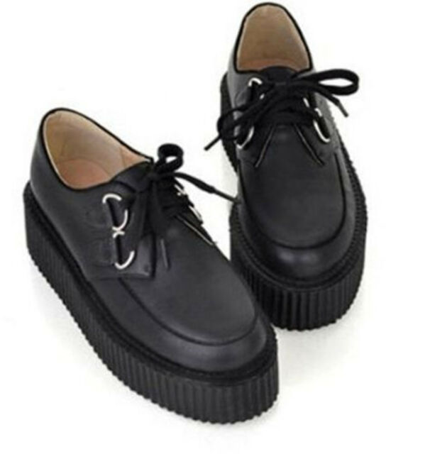 Trendy Womens Lace Up High Platform Creepers Flats Retro Goth Punk Casual Shoes