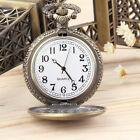 Antique Vintage Retro Bronze Quartz Pendant Chain Necklace Pocket Watch BE