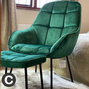Luxury-Velvet-Dark-Green-Accent-Chair-amp-Footstool-Set-Thick-Cushioning-Modern