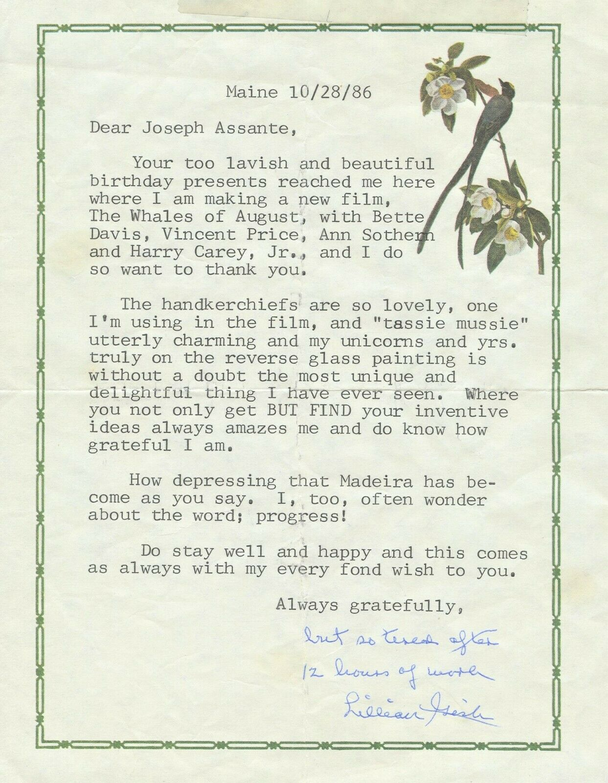 Image 1 - LILLIAN GISH Signed Letter - The Whales of August