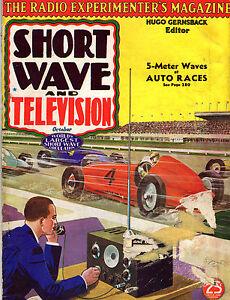 Short Wave Radio Television Oct 1937 Pulp Style Mag Hugo Gernsback Auto Race C Ebay