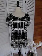 grayson woman black/white color cup sleeve slinky fabric tunic top size 2x