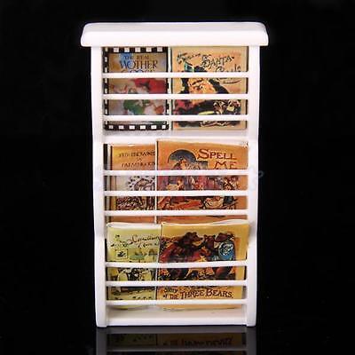 Multi-purpose White 1:12 Dollhouse Miniature Wooden Bookshelf Book Magazine Rack