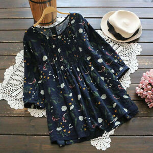 bfebb837 Women Summer 3/4 Sleeve Shirts Blouse Lady Loose Pleated Casual Top ...