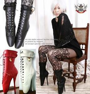 18cm-7-Fetish-Gothic-Punk-Ballet-Pinup-Point-Laceup-Boots-Custom-Order-Handmade