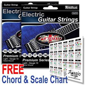 Details about 2 SETS - ADAGIO AntiRust Coated Nickel Electric Guitar  Strings 10-46 + Chart