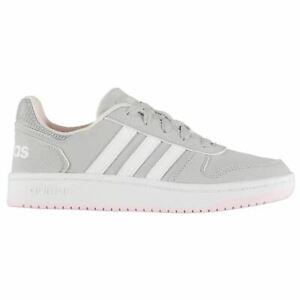 fa013cc36bf Image is loading adidas-Kids-Girls-Hoops-2-Nubuck-Junior-Trainers-