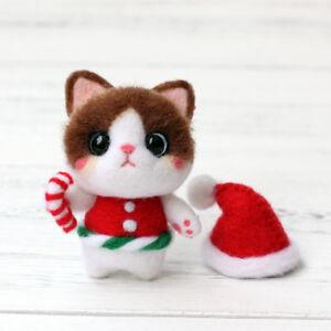 Cute Wearing Christmas Hat Cat Felt Christmas Ornament Kit ...