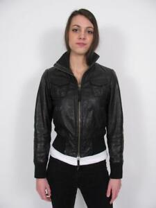 Miss Top Gun Black Leather Ladies Bomber Jacket Moto Pin Up Girl
