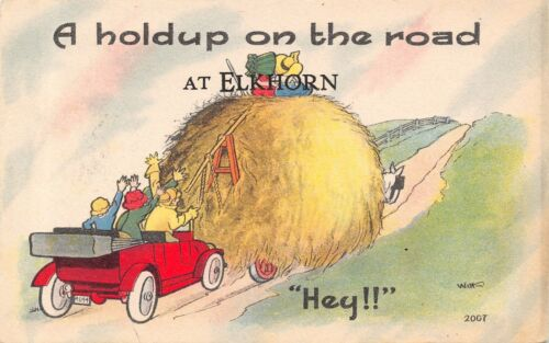 """A Hold Up on the Road"" at Elkhorn WisconsinHayrack Blocks Auto1914 Postcard"